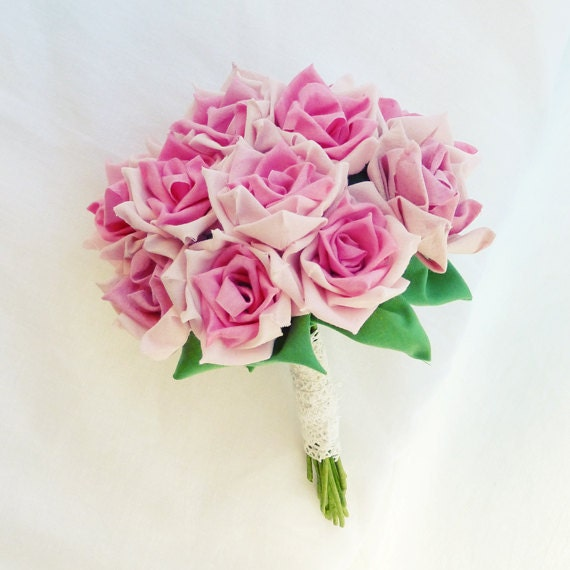 Fabric Flower Bouquet Roses or vase arrangment True LOVE roses ...