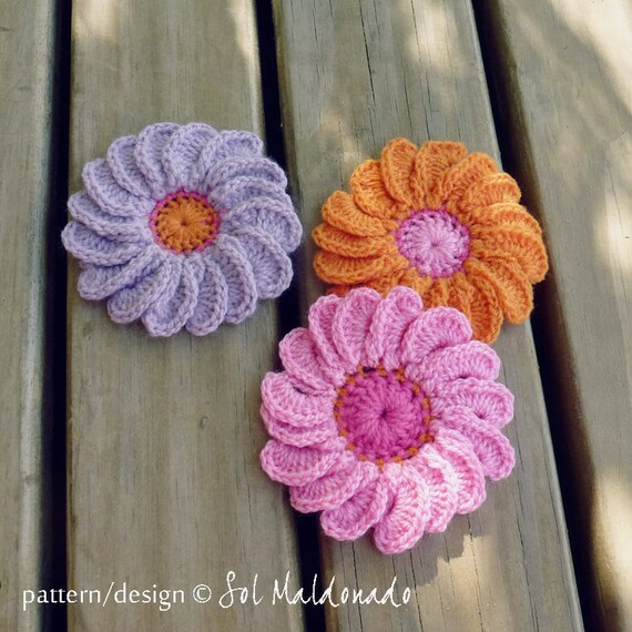 Crochet Flower Pattern Gerbera Easy Beginner Photo Tutorial Etsy