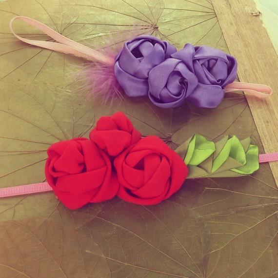 Flower Headband Tutorial: Fabric Flowers Headband Tutorial Roses Pattern PDF Sewing