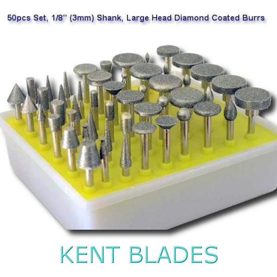 50 pcs Kit Diamond Coated Rotary Burrs Small Head Style