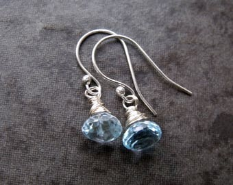 Sky Blue Topaz Gemstone Sterling Silver Dangle Earrings Blue Earrings Blue Gemstone Topaz Earrings