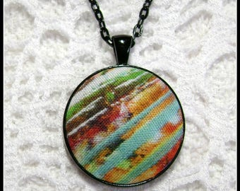 Fabric Pendant - Artsy Jewelry - Fiber Art - FP65