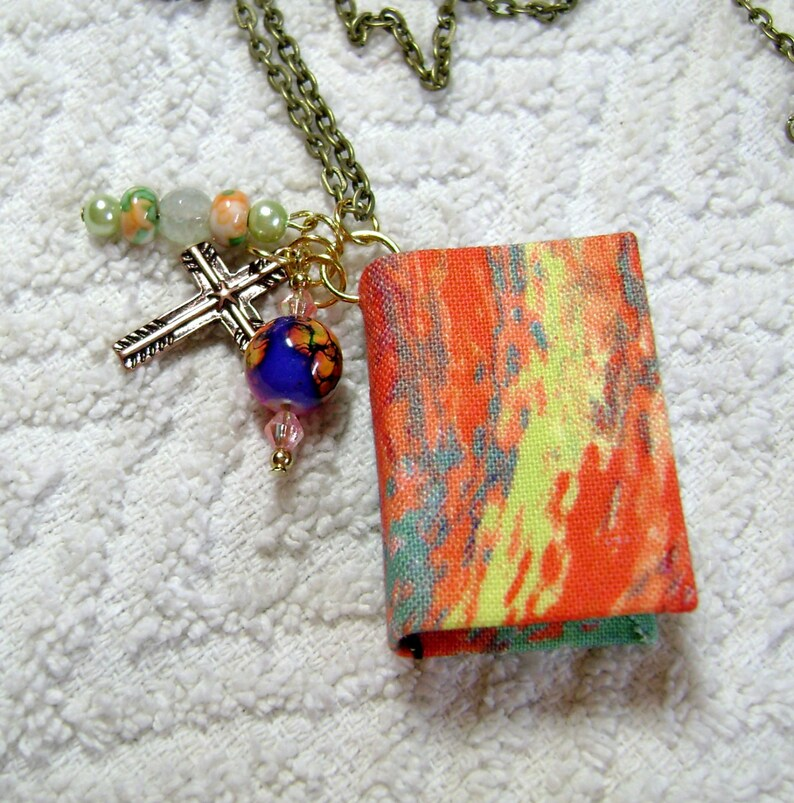 Book Pendant Book Journal Book Jewelry BN-228 Handmade Book Necklace Watercolor Fabric Handmade Book