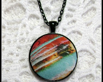 Wearable Art - Fiber Art Pendant - Fabric Pendant - Artsy Jewelry - Fiber Art - FP81