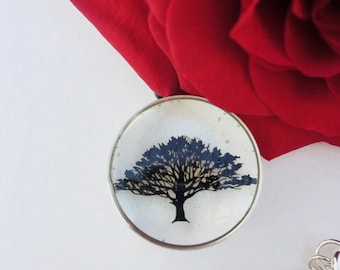 Tree Of Life Necklace, Tree Of Life Pendant, Clear Pendant, Tree Pendant Necklace, Resin Pendant Necklace, Leather Cord Necklace
