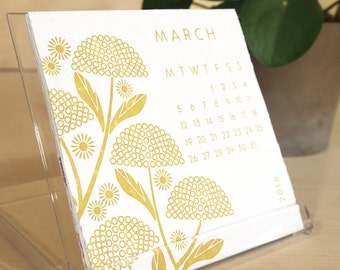 2018 Floral Hand Embossed Colour Desk Calendar, Calendar 2018, Office Calendar,Office Gift