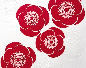Red Poppies Lino & Hand Embossed Print