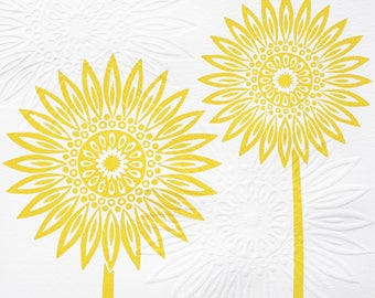 Yellow Sunflower Lino & Hand Embossed Print