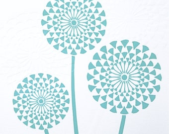 Turquoise Dandelion Seed Lino & Hand Embossed Print
