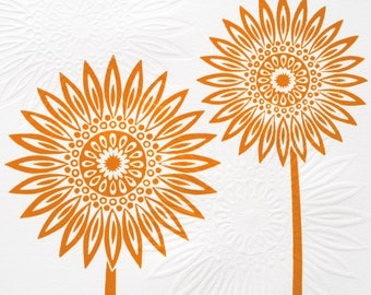 Orange Sunflower Lino & Hand Embossed Print