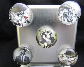 Steampunk Magnet Set, Fridge magnets, Fridge Magnet Set, refrigerator magnets,  Office Magnets, macabre gift, Office Gift, Skulls  585