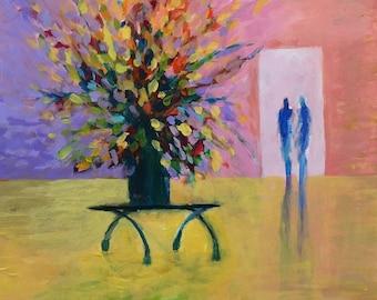 The Conversation - Original Acrylic Flower 8x10 Painting, In 12x16 Mat