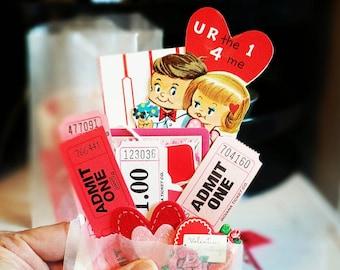 Valentine Mini Inspiration Kit / 20 Pieces / Valentine Ephemera / Tags / Journal / Valentine Embellishment Kit