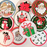 Vintage Christmas Paper Coasters / Christmas Ephemera / Lot of 10 / December Journal