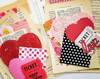 Valentine Mini Ephemera Paper Pack  / Vintage & New / DIY Kit / 20 Pieces / Journal / Daily Planner / Scrapbook Ephemera