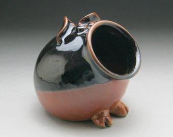 Ceramic Salt Pig - Pig Jar - Black Brown and Copper - Made to Order