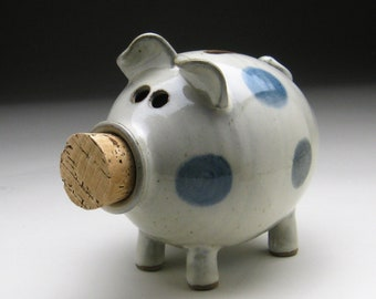 Ceramic Piggy Bank - White with Blue Polka Dots - Made to Order