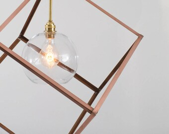 Reserved for Faith - Custom Order- Cage Lighting - Modern Copper Cube with Glass Globe Shade and Brass Hardware - Statement Lighting