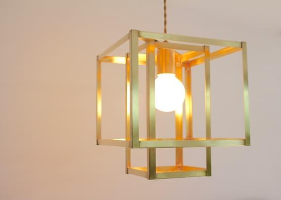 Brass Pendant Light Mid Century Modern Lighting Gold Light Etsy