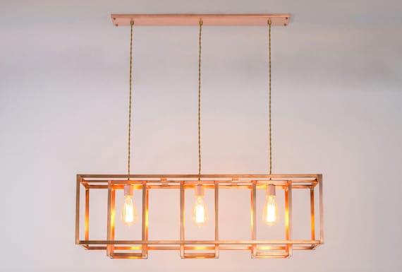 Modern rustic copper chandelier industrial geometric etsy image 0 aloadofball Gallery