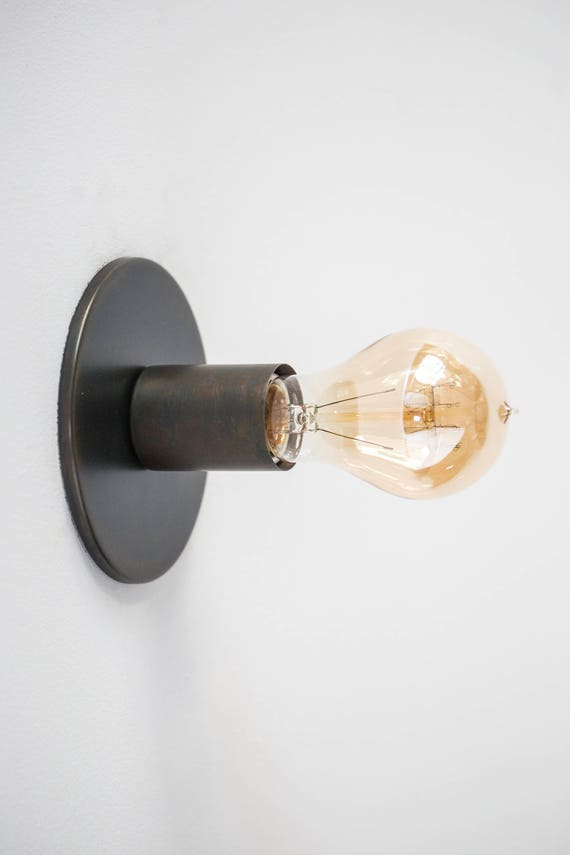 Wall Light or Ceiling Light Sconce or Flush Mount Minimalist Industrial Lighting Exposed Edison Bulb Outdoor Brown Black Bronze