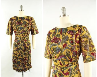 1950s Floral Mosaic Pattern Day Dress / 30 - 31 waist / Acetate Jersey Late 1950s Dress Early 1960s