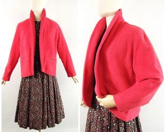 1950s Watermelon Wool Clutch Coat / Medium / The Princess Shop Washington DC - Pink Red Short Topper Coat Mid 50s Late 1950s Fall