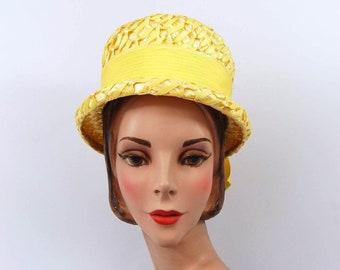 42378e02eb8 60s Yellow Straw Hat - High Crown - Flat Crown - pillbox bucket Hat mid  1960s Bright Yellow