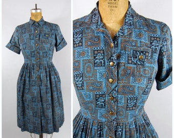 50s 60s Patterned Shirtwaist Dress // 30 Waist // Blue and Brown // Late 1950s Button-down Dress 50s 60s