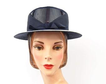 1960s Navy Ladies Boater Hat