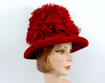 0b3bced209449 60s Albrizio Red Feathered Hat - High Crown Beehive Style - Wide Brimmed  Dramatic Glamorous Feather Covered Red-Blue Velvet