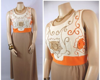 1970s Orange and Brown Maxi // 34 Waist //  70s Volup XL Autumn Earth Tones Soutache Banded Waist Sleeveless Scoop neck