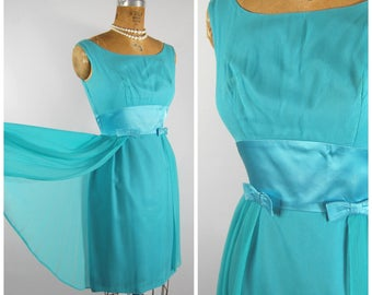 Early 60s Aqua Cocktail Dress / Waist 25.5 / Wiggle Dress Satin and Georgette // Late 1950s Early 60s Party Dress Homecoming Dress
