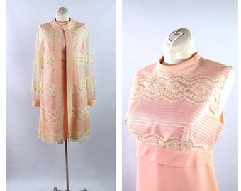 Early Mid 60s Pink Dress Coat Set / 34 Bust / Sheer Lace Jacket Empire Waist Cocktail Dress Light Pink Ivory Sleeveless Dress Lace Duster
