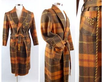 62d2dcc5e0 40s Plaid Wool Robe   Medium   Men s Vintage Robe Gold trim Heavy Wool  Brown Plaid Corded Trim By Red Leaf 1940s Smoking Jacket Dapper