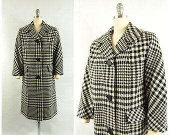 1960s Houndstooth Coat / 42 - 43 Bust / 3/4 Length Sleeves Mid 1960s Fall Winter Coat Wool Coat Betty Rose Single Breasted Big Buttons