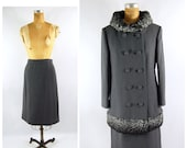 60s Coat and Skirt Set Small Grey Wool Winter Coat Fur Trimmed Double Breasted Structured Skirt Suit Set - Early Mid 1960s
