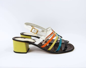 7f63f48f6580 Early 70s Colorful Sandals   Size 8   Chunky Heels Strappy Open Toe  Slingback Made in Italy All Leather Yellow Orange Teal White Black