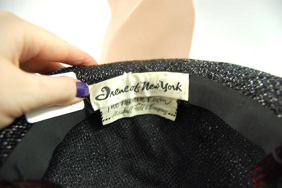 1960s Wide Brimmed Hat / Black Straw Upturned Bri… - image 6
