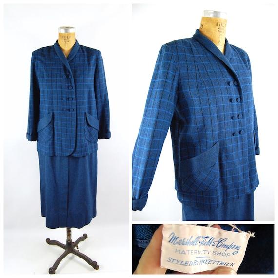 50s Blue Maternity Suit / 40 bust Adjustable Waist
