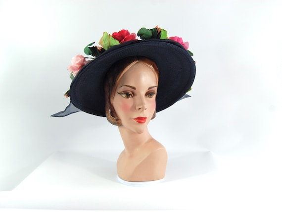 Early 1960s Navy Straw Floral Hat - Wide Brimmed P