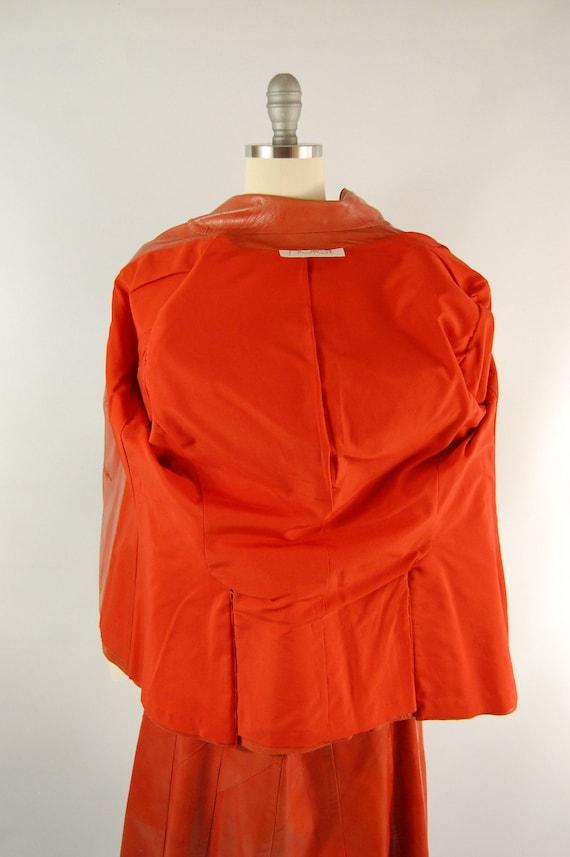 70s Orange Leather Suit / 30 Waist / Horst Burnt … - image 5