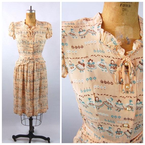 40s Novelty Print Rayon Dress // 34 36 Bust // Pin