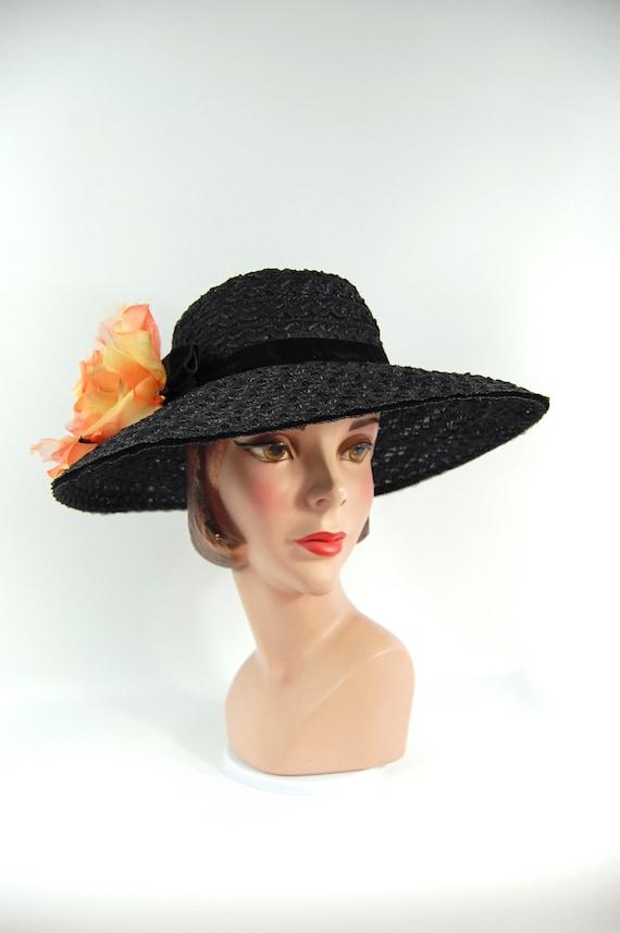 50s 60s Black Straw Wide Brimmed Hat / Black Summ… - image 4