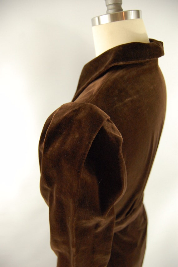 30s Brown Cotton Velvet Crepe Dress / 28 - 29 Wai… - image 5