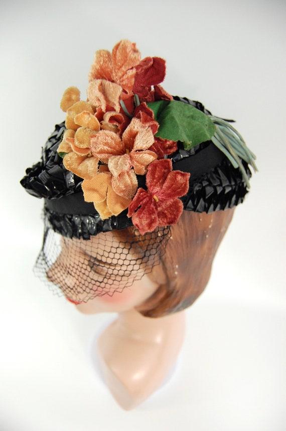 1930s Spring Summer Hat / Black 30s Straw Celloph… - image 4