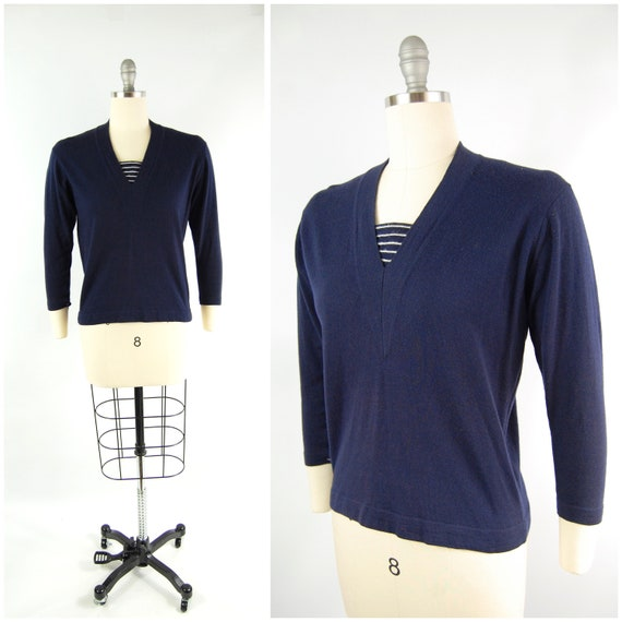 1950s Navy Blue Sweater / size 38 / Blue White Str