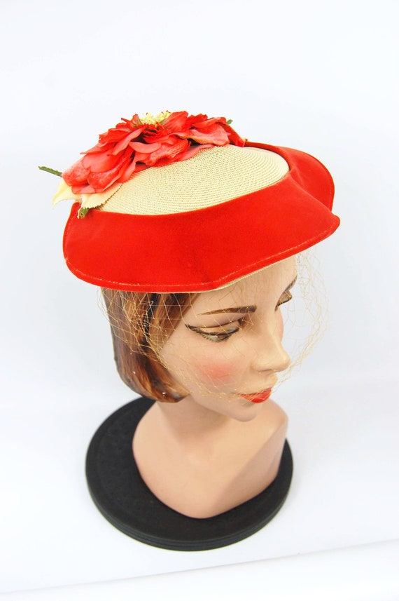 50s Orange Floral Straw Hat - 50s Straw Bonnet by