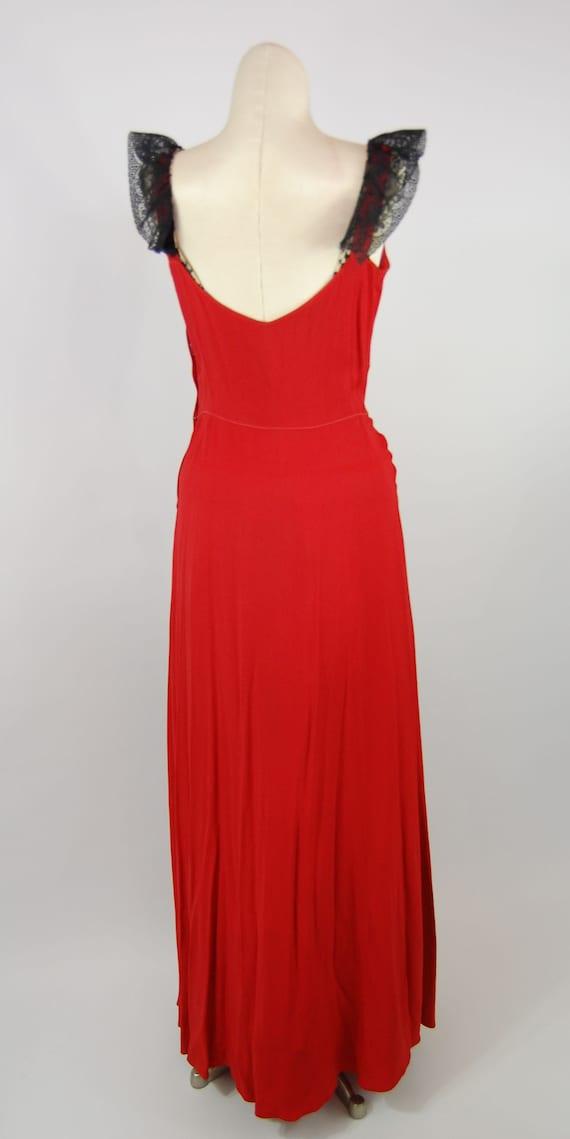 40s Fringe Trimmed Crepe Gown // 28 Waist // Red … - image 8