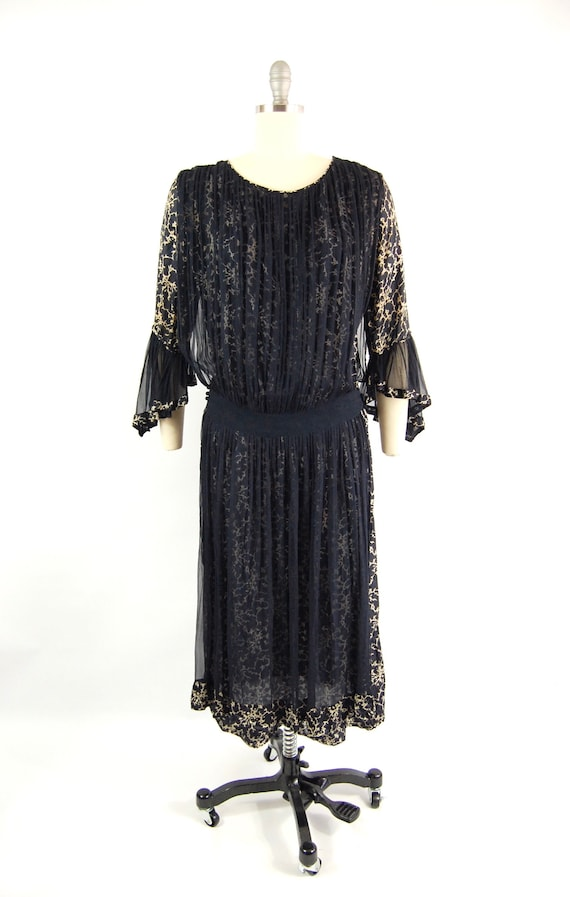 Mid 20s Navy Day Dress / 38 Bust / Art Deco Dress… - image 3